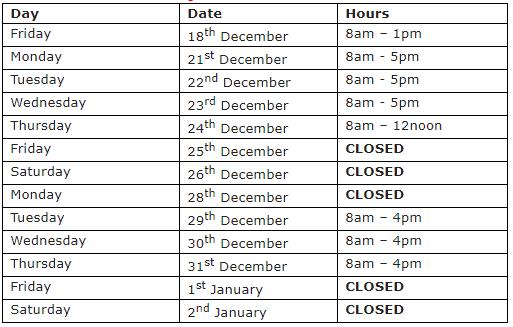 December holidays hours